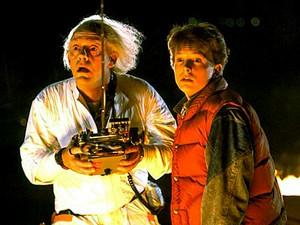 """Christopher Lloyd et Michael J. Fox dans """"Retour vers le futur"""""""